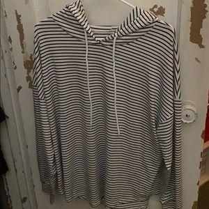 Long sleeve hooded striped shirt
